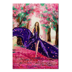 Wall Art Poster Modular Canvas HD Prints Paintings 1 Piece Beautiful Girl Cherry Blossom Flower Pictures