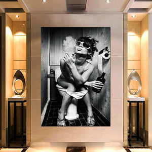 Canvas Print Pictures Wall Art Framework 1 Piece Black white Smoking Women Poster Painting Modular Home Decor