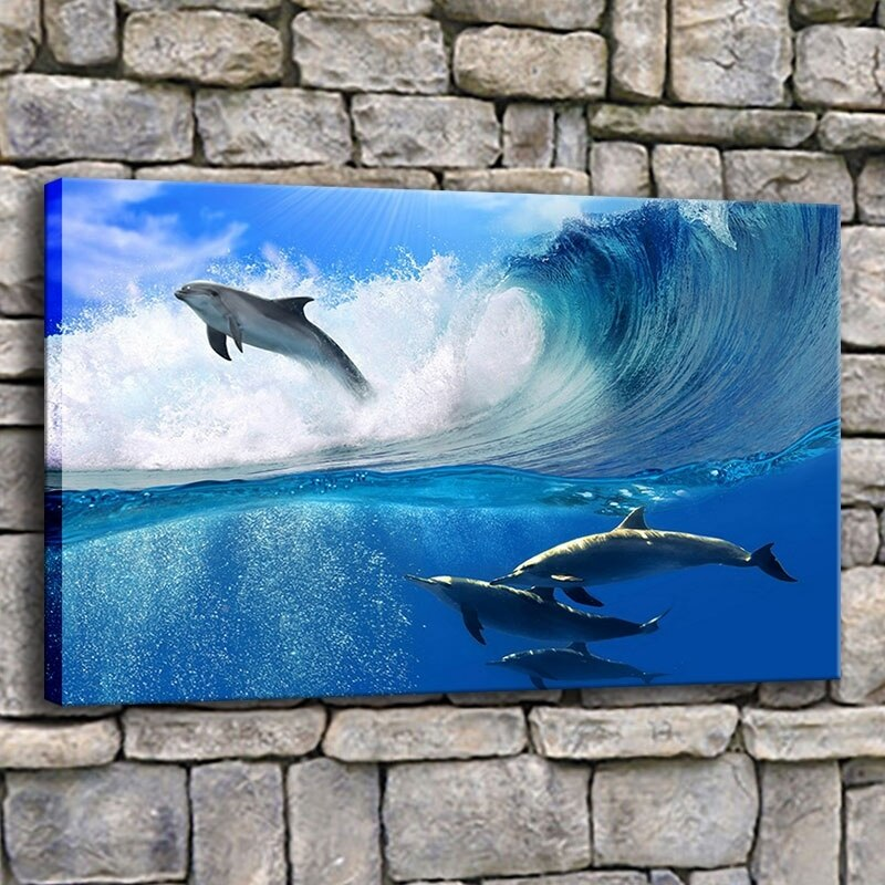 Beautiful Many Dolphins In Sea Swims Picture Modern Artwork Home Decorative Wall 1 Panel Canvas Painting HD Printing