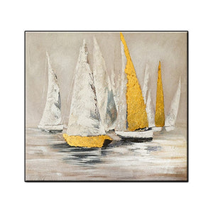 Abstract Scenery Sea Boat Oil Painting Hand Painted Modern Painting Art Home Wall Decoration 1 Panel Oil Painting