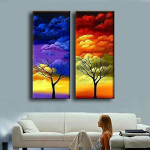 2 Panel Painting Color Clouds Trees Pictures Handpainted Abstract Landscape Oil Paintings Canvas Wall Art
