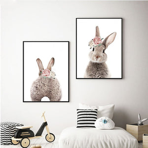 2 Panels Minimalist Bunny Rabbit Nursery Wall Canvas Painting Print Poster Wall Pictures Living Room Room Decor
