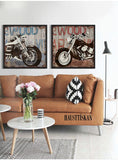 2 Panels Vintage Harley Motorcycle Canvas Paintings Street Art Graffiti Poster Printer Sofa Wall