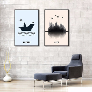 Abstract Boat Modern City Posters And Prints Wall Art 2 Panels Canvas Painting Pictures Nordic Decoration