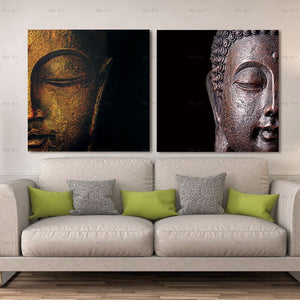 2 Panels Buddha Paintings Canvas Posters Prints Black Abstract Portrait Art Painting Wall Pictures