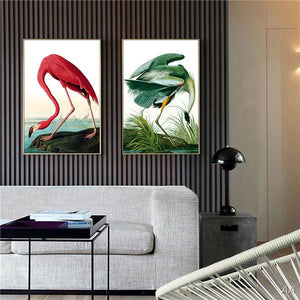 2 Panel Modern Canvas Painting Wall Art Flamingos Floral Wall Pictures Living Room Hd Print Animal Picture