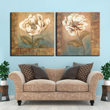 Vintage Modular Picture 2 Panels Abstract Flower Canvas Painting Pictures Home Decoraction Wall Art Canvas Print Artwork
