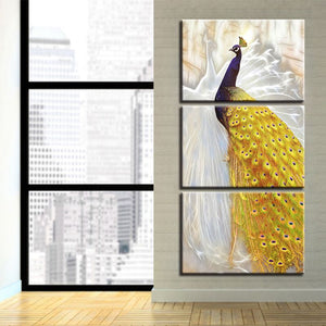 3pcs Gold Peacock Wall Art Posters Modern Home Decoration Beautiful Natural Landscape HD Print Modular Panel