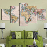 5 Piece Retro Abstract World Map Paintings Home Decor Canvas Pictures Wall Art Poster