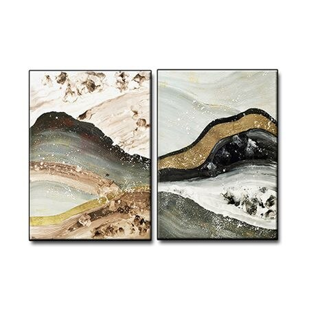 2 Panel Canvas Wall Art Paintings Pieces Modern Wall Decor Hand Painted Abstract Oil Painting