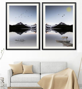 2 Panels Canvas Wall Art Prints Nordic Minimalist Landscape Painting Mountain Lake Scenery Picture