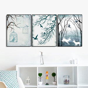 3 Panel Nordic Home Decoration Canvas Painting Calligraphy Abstract Landscape Poster Prints Wall Art Picture