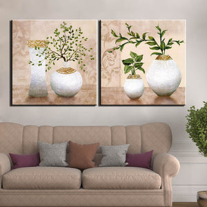 Home Decor 2 Panel Picture Vintage Plant Vase Canvas Wall Art Painting Art Print Poster Wall Decoration