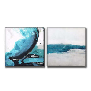 Newest Acrylic Painting 2 Panels Abstract Canvas Wall Decor Art 100% Hand Painted Oil Painting