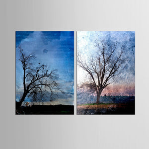 2 Panel Retro Trees Canvas Painting Wall Art Spray Wall Painting Home Decor Canvas Printings