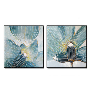 Newest Acrylic Painting 2 Panels Flowers Canvas Wall Decor Art Modern Hand Painted Oil Painting Blue Flower