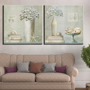 Modular Pictures 2 Panel Still Life Abstract Flower Canvas Painting Vase Picture Vintage Wall Art Print Poster