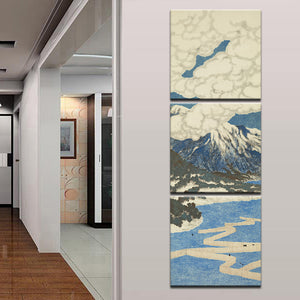 3 Panel Japanese Landscape Wall Art Painting Mount Fuji with River Landscape Canvas Print Pics