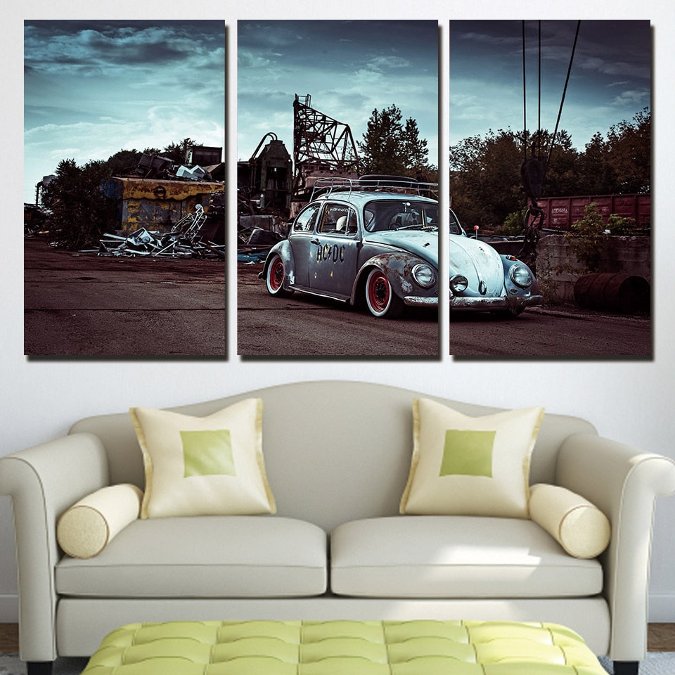 3 Panels Canvas Art Classic Car Beetle Home Decoration Wall Art Painting Canvas Prints Pictures Living Room Poster