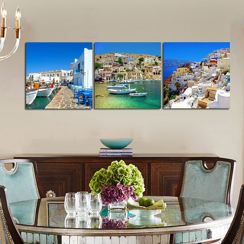 Canvas Painting Wall Art Living Room Decorations Home Decor Greek Island Landscape Beautiful Pictures