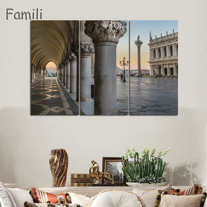 3 Panels Canvas Wall Art Wall Decor Home Decoration Seaside Castle Nature Canvas Paintings Venice Print Art