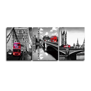 3 Panel Canvas Wall Art Modern Posters and Prints City Rail Traffic Decorative Pictures Living Bedroom