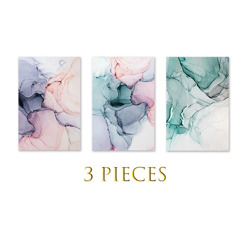 3 Panels Scandinavian Marble Color Abstract Canvas Painting Wall Art Poster Wall Pictures Geometric Home Decor