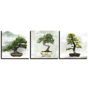 3 Panels Canvas Wall Art Painting Prints Abstract Bonsai Tree Pictures Prints Modern Artwork Home Decor