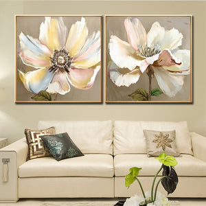 Hand-Painted 2 Panel Lotus Flower Art Oil Painting Canvas Wall Art Home Wall Large Flower Art Wall Decor