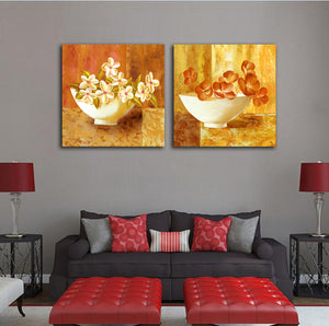 2 Panels Retro Oil Painting Modular Picture Flower Canvas Wall Art Poster Prints Living Room Home Decor