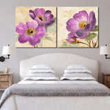 Canvas Wall Art Painting Purple Flowers Art Print Poster Wall Decoration Home Decor 2 Panel Picture