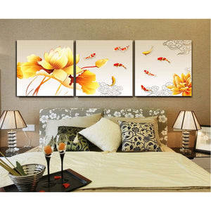 Home Decoration Posters Living Room 3 Panel Golden Lotus And Carp Modern Painting Canvas Wall Art Pictures HD