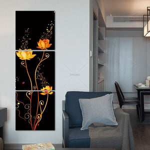 3 Panels Canvas Photo Prints The Lotus Flower Wall Art Picture Canvas Paintings Wall Decorations Paintings