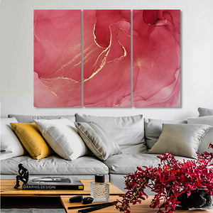 3 Panels Abstract Dark Pink Marble Artwork Canvas Paintings Stretched Posters Prints Wall Art Pictures Room