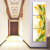 HD Printed Modern Canvas Living Room Pictures 3 Panel Yellow Tulip Painting Wall Art Modular Poster Home Decoration