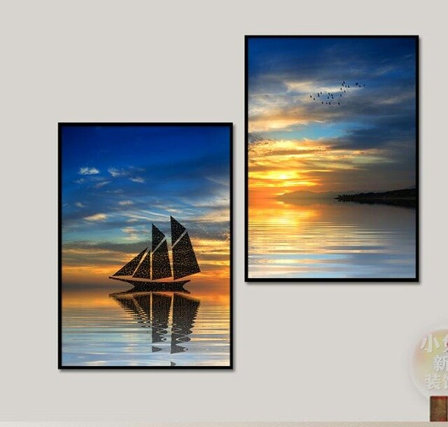 Nordic Sea Sunrise Boat Seascape Canvas Painting Bedroom Living Room Wall Art Prints 2 Panel Modular Picture