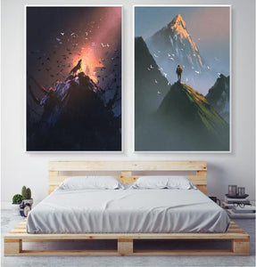 Watercolor Nordic Wolf Bird Climber Living Room Decoration Painting 2 Panels Modular Wall Art Canvas