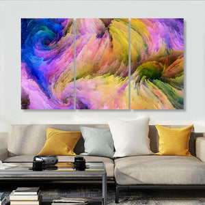 3 Panels Abstract Composition Flowing Paint Pattern Canvas Wood Posters Prints Wall Art Pictures Home Decor