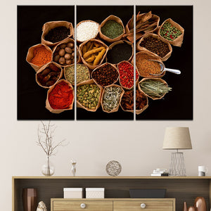 Canvas Painting Modern Kitchen Room Decoration 3 Panel Grains Spices Print Wall Art Posters Food Picture