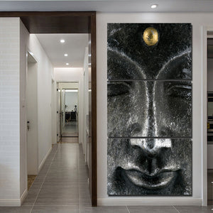 3 Panel Canvas Wall Art Traditional Silver Buddha Statue Face Home Decoration Picture
