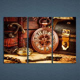 3 Panels Canvas Art Vintage Watch Box Key Home Decor Wall Art Painting Canvas Prints Pictures Poster
