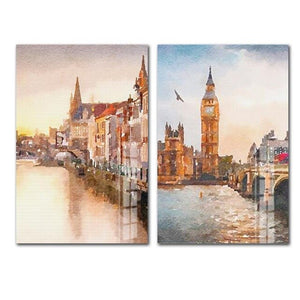 European Style Retro Oil Painting Landscape HD Print Painting 2 Panels Unframed Wall Art Canvas Poster