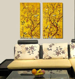 2 Panels Trees And Birds Art [aintings Living Room Wall Pictures Print Canvas Home Decoration