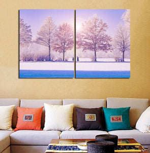 Beautiful Snowy Couple Walking Paintings Decorations Home Wall Art Prints Canvas Modern Artwork