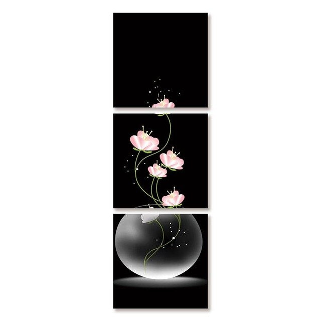3 Panels Canvas Painting Wall Pictures Vase Flowers Wall Art Posters Prints Porch Corridor Version