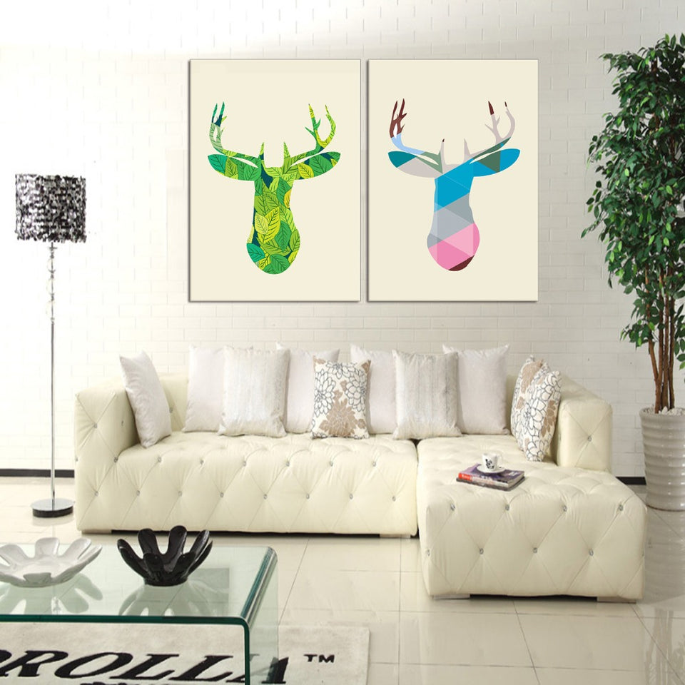 2 Panel Nordic Minimalist Modern Canvas Painting Art HD Print Poster Elk Deer Head Wall Stickers Home Decor