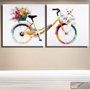 2 Panels Girl's Colorful Bicycle Bike Canvas Paintings Poster Printer Girl's Room Decoration