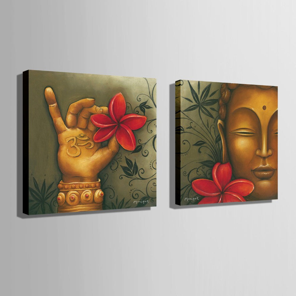 2 Panels HD Printer Buddha Flower Canvas Paintings Poster Printer Home Decoration