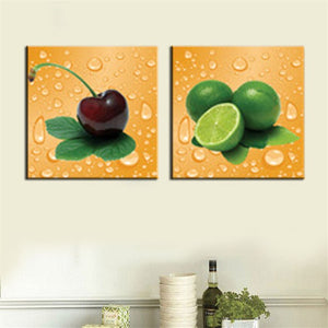 2 Panel Modern Home Wall Decor Canvas Print Painting Fruit Large Wall Picture Kitchen Decor