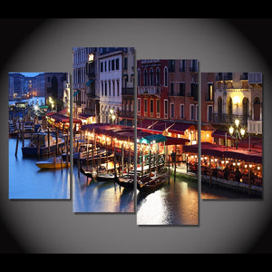 Canvas Painting 4 Piece Canvas Art City Venice Italy Water HD Printed Home Decor Wall Art Poster Picture
